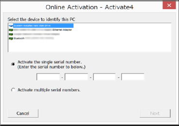 The [Online Activation] screen