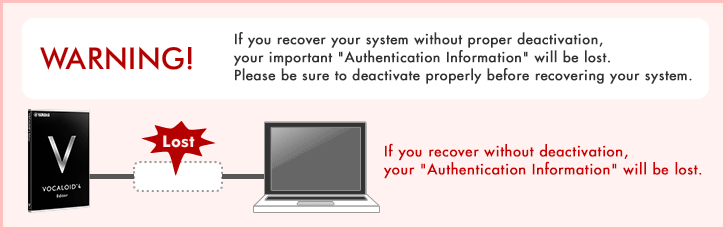 [WARNING!]If you recover without deactivation, your Authentication Information will be lost.