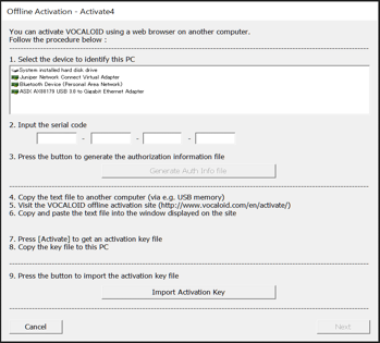 The [Offline Activation ‐ Activate4] screen