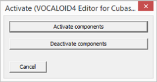 The [Activate (VOCALOID4 Editor for Cubase)] screen